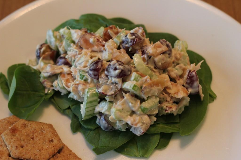 spinach almond chicken salad
