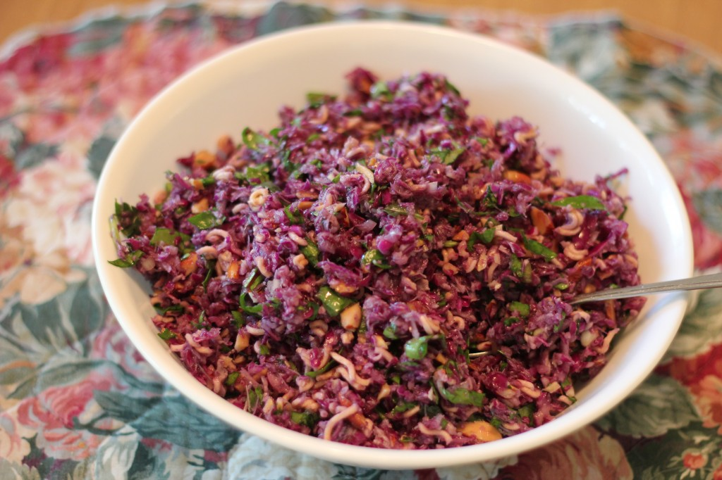 purple chicken raman salad