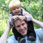 nephi on daddy's shoulders
